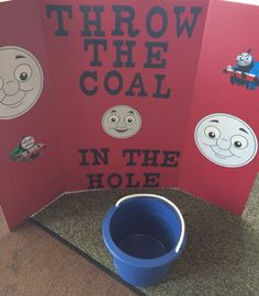 Party game for Thomas The Train party. We used black pompoms instead of coal.