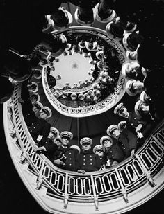 alfred eisenstaedt - Low Angle of Cadets at Naval Academy Lining Stairway in Maury Hall