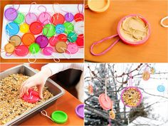 Play-Doh Lids + Peanut Butter = Birdfeeders    What to do with non-recyclable lids after your kid's Play-Doh turns hard and brown? Schmear 'em with peanut butter, sprinkle on seeds