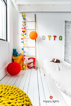 happy lights and a teen bed from Rafa-kids Happy Lights, The Design Files, Home And Deco, Kid Spaces, Kids Decor, Boy Room, Child Room, Girls Bedroom, Funky Bedroom