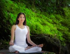 Asian pretty woman doing yoga exercises - Asian pretty woman doing yoga exercises in the green nature park