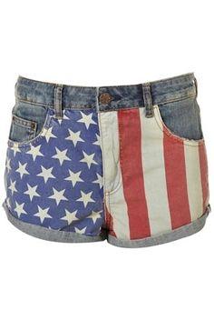Dark Denim Flag Print Hotpants - StyleSays