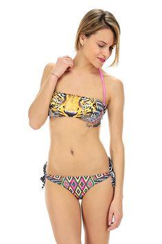 4giveness - Costumi da bagno - Abbigliamento - Costume da bagno a fascia imbottita con brasiliana con stampa a fantasia.La nostra modella indossa la taglia /EU S. - AZTEC - € 45.00