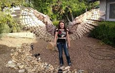 Whoa!: Woman Makes Incredible Pneumatic Articulated Bird Wings For Halloween Costume | Geekologie