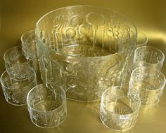 Items similar to Mid-Century Nuutajarvi Flora Punch Bowl Set w/ Glasses & Cups, Oiva Toikka Art Glass, Finland on Etsy