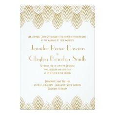 Mariage vintage d'or blanc de feston d'art déco carton d'invitation  12,7 cm x 17,78 cm