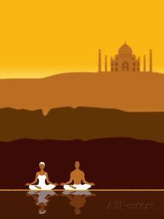 Couple Meditating in front of the Taj Mahal Photographic Print at AllPosters.com