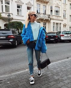 Get this look: http://lb.nu/look/8881141 More looks by Romina M.: http://lb.nu/romina Items in this look: H&M Blue Fake Fur Jacket, Ysl Bag, Platform Vans