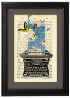 Typewriter Illustration poster Art  Print  Posters by Natalprint, $9.00