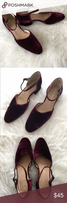 Enzo Angiolini Velvet Kitten Block Heel These gorgeous purple velvet shoes from Enzo Angiolini feature a kitten block heel, ankle strap and rounded toe. Size 7. Heel height: 1.25 inches. Enzo Angiolini Shoes Heels