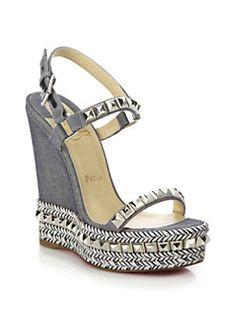 98cd475aae18 Christian Louboutin - Cataclou Studded   Braid-Trimmed Denim Wedge Sandals  Espadrille Wedge