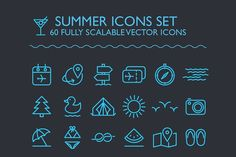 SUMMER ICONS SET by Ema Dimitrova on @creativemarket