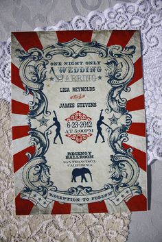 Vintage Carnival Wedding Stationery Set (Gorgeous Circus Invitation, Save the Date, Thank You Card Printable Suite) Red, Blue & White. $64.50, via Etsy.