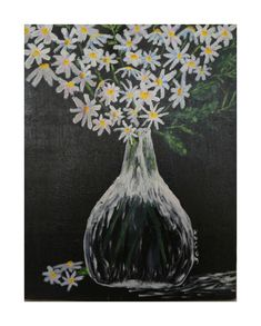 Daisies in a Glass Vase Still Life Painting Original Modern Art Paintings, Original Paintings, Canvas Frame, Canvas Art, Flower Artwork, Clear Vases, Acrylic Painting Canvas, Daisies, Painting & Drawing