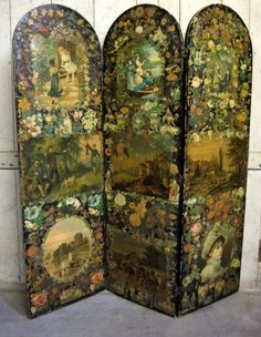 ANTIQUE VICTORIAN DECOUPAGE SCRAP SCREEN    Price: £ 495