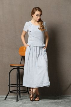 Light Blue Linen Dress Casual Stylish Loose-Fitted by YL1dress