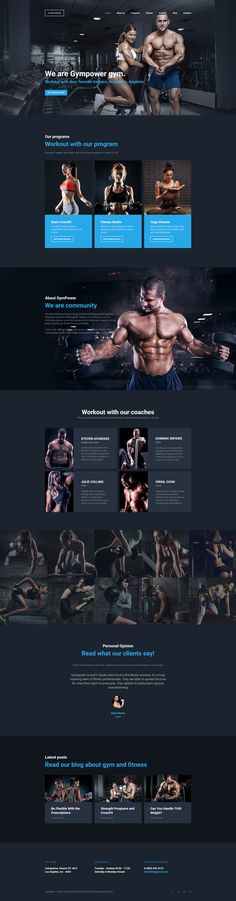 GymPower - Fitness & Bodybuilding Premium Moto CMS 3 Template - Web Design, UI, and UX Inspiration - Health Template Web, Website Template, Templates, Design Sites, Personal Trainer Website, Fitness Websites, Fitness Bodybuilding, Dark Color Palette, Web Design Inspiration