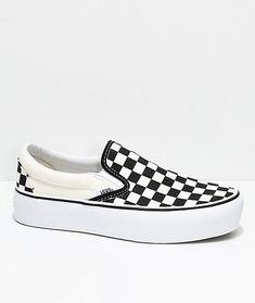 44aff57d410070 Vans Slip-On Black  amp  White Checkered Platform Skate Shoes Vans Slip On  Black