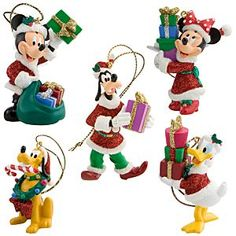 Disney Santa Mickey Mouse and Friends Holiday Ornaments -- 5-Pc. Set | Disney StoreSanta Mickey Mouse and Friends Holiday Ornaments -- 5-Pc. Set - Gosh! Mickey and the gang have gone all-out to help Santa deliver glittering gifts for your Christmas tree. This set of five sculpted holiday ornaments are sure to make you the leader of the Club all season!