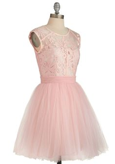 Fiercely Feminine Dress. You command a room by flaunting truly ladylike looks - and this pastel-pink party dress and its tutu-esque tulle skirt are no exception! #pink  #modcloth