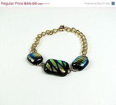 CIJ SALE Dichroic glass beaded gold chain bracelet