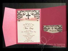 Pocket Fold Christening Invitation
