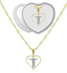 Gargantilha folheada a ouro c/ pingente do Cristo Redentor e aplique de prata (acompanha caixinha em acrílico)-Clique para maiores detalhes