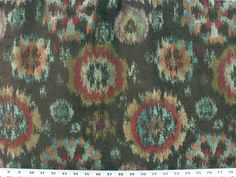 A chocolate brown chenille ikat fabric with metallic copper, orange, blue-green and red splotches. This sturdy fabric would give any room a contemporary feel. Excellent for upholstery, pillows or draperies. | eBay!