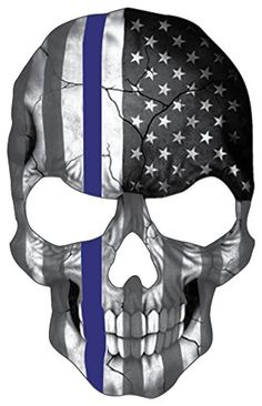 Blueline Skull Subdued Thin Blue Line American Flag Sticker 6 x 4 inch Reflective Police Support Decal *** Continue to the product at the image link.Note:It is affiliate link to Amazon.
