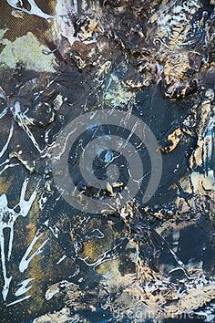 Dark and mysterious hand made painting on canvas with white and beige splashes.