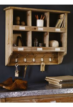 Wooden Box Unit with Hooks NEW - Home Office - Home