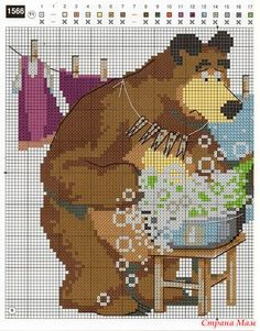Маша и медведь (схема) Disney Cross Stitch Patterns, Cross Stitch For Kids, Cross Stitch Designs, Cross Stitching, Cross Stitch Embroidery, Masha And The Bear, Stitch Cartoon, Animal Crackers, Animal Decor