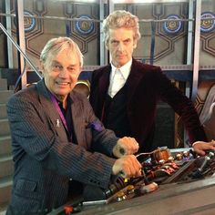 Frazer Hines (the second Doctors companion, Jamie) in the new TARDIS with the new Doctor Peter Capaldi.