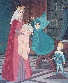 *QUEEN LEAH, PRINCESS AURORA, MERRYWEATHER & PRINCE PHILLIP ~ Sleeping Beauty, 1959