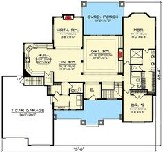 Plans Maison En Photos 2018 2 Bed Ranch Home Plan with Expansive Porch Ranch House Plans, Best House Plans, Dream House Plans, Small House Plans, House Floor Plans, Craftsman Porch, Craftsman House Plans, Craftsman Homes, Architectural Design House Plans