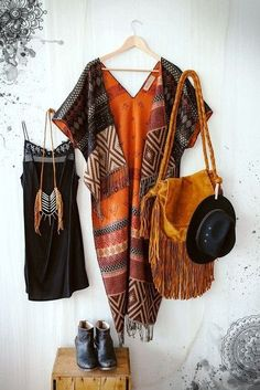 Cardigan: boho, pattern, shawl, poncho, orange, fringed bag, native american, aztec, hat, leather, hippie, jewels, bag - Wheretoget
