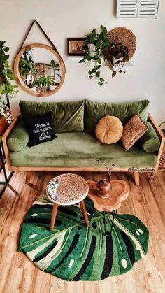 Boho Living Room, Home Living, Living Room With Plants, Jungle Living Room Decor, Earthy Living Room, Deco Studio, Aesthetic Room Decor, Cozy Room, Room Decor Bedroom
