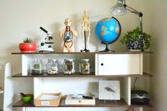 Science shelf - collect vases with nature items your toddler can pick up (conifers, leaves, rocks, etc.)