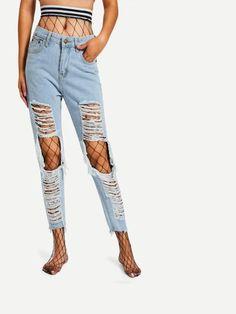 Striped trim waist fishnet stockings tights