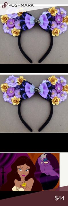 Disney Ursula / Vanessa Disneybound Minnie ears Hand Crafted , recently purchased from Etsy for $44.00 but never worn! These beautiful handmade floral minnie ears will be perfect for your trip to Disneyland , Disney Cruise, or just for fun! Find one that matches your Disney style!  This pair features floral ears covered in gold and purple flowers ONLY ON THE FRONT. This specific style WILL COME WITH A BOW. Each headband is one size, lightweight, and crafted with a soft plush material that…