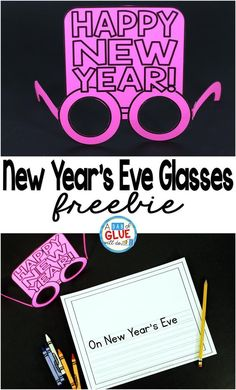 New Year's Eve Glasses and Writing printable is the perfect way to ring in the new year. Whether you are celebrating New Year's Eve or teaching your students about new year's traditions, these free glasses and writing printable will be a great addition. New Years Hat, New Years Eve Day, New Year's Eve Celebrations, New Year Celebration, New Year's Crafts, Crafts For Kids, Children Crafts, Hand Crafts, New Year's Eve Hats