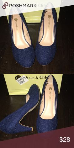 9697f3458af Shop Women s Chase + Chloe Blue size 10 Heels at a discounted price at  Poshmark. Description  Cute navy lace pump made by chase and Chloe and sold  by ...