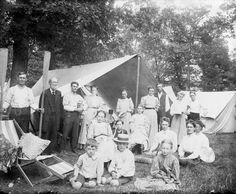 Camping Trip; c.1907, Wisconsin. Group portrait during camping trip. Otto Lindner is holding the coffee pot.   Wisconsin Historical Society