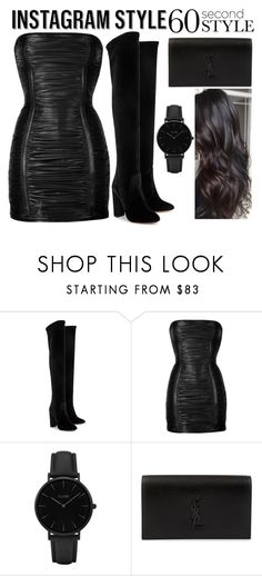 """""""Total Black 60s"""" by chiaral95 ❤ liked on Polyvore featuring Aquazzura, Balmain, CLUSE, Yves Saint Laurent, 60secondstyle and PVShareYourStyle"""