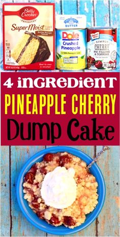 This easy pineapple cake with cherry pie filling makes a perf… Dump Cake Recipes! This easy pineapple cake with cherry pie filling makes a perfect homemade dessert! Cherry Pineapple Dump Cake, Pineapple Dessert Recipes, Cherry Cake, Pineapple Upside Down Cake, Cherry Cherry, Winter Desserts, Desserts For A Crowd, Fun Desserts, Christmas Desserts