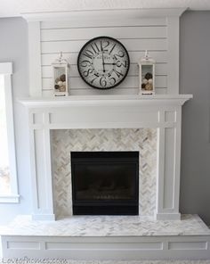 Find more ideas: Modern Fireplace Mantle Remodel Stone Living Room Fireplace Outdoor Fireplace Makeover Favorites Farmhouse Fireplace Ideas DIY Classic Fireplace Tile Fireplace Update, Farmhouse Fireplace, Fireplace Remodel, Fireplace Design, Fireplace Makeovers, Shiplap Fireplace, Small Fireplace, Fireplace Hearth, Craftsman Fireplace