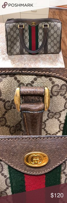 Vintage Gucci Boston Bag Vintage Gucci Monogram Boston bag from the Accessories Collection. Wear throughout bag but in great condition considering the age. Some scratches on handles but not much. Minor fading of gold hardware. Only larger wear is to lining but still no rips or tears through the fabric. Gucci Bags Satchels