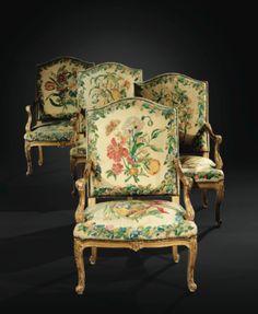 Suite de quatre fauteuils en bois sculpté et redoré d'époque Régence, les tapisseries en laine et soie d'après Maria Sybilla Merian, travail du nord de la France ou des Flandres, vers 1720 - Sotheby's