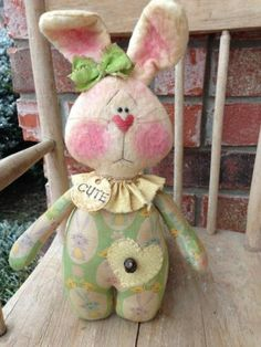 Primitive Easter/Spring Bunny Pinkeep in green*Annie*Raggedy*GracieLouOriginals
