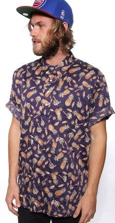 Mens Silk Pinapple Print Shirt $49 - ❣ Relicário ❣ - makemyworldburn.tumblr.com